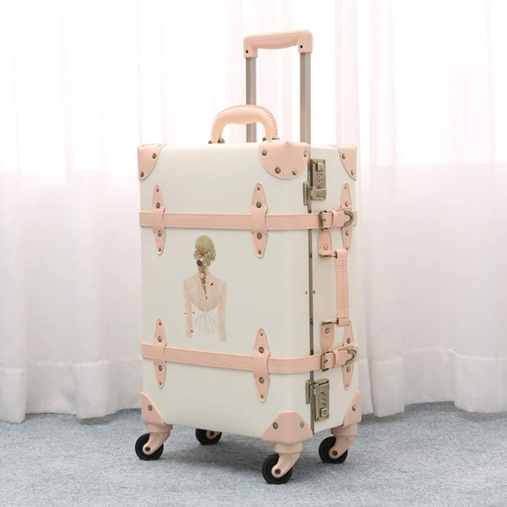 Pu Leather Travel Luggage Trolley Suitcase for Girls Women Beauty White 20