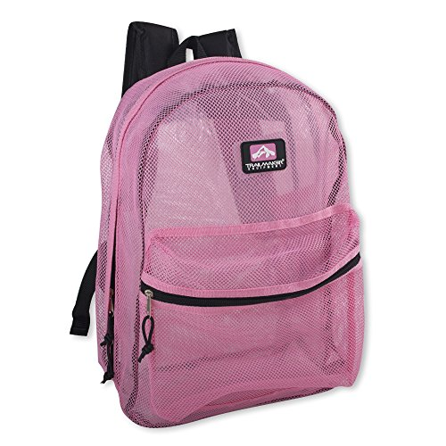 Trailmaker Transparent Mesh Backpack for School, Beach, and Travel, with Padded Shoulder Straps (Pink)