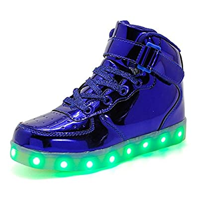 pit4tk High Top USB Charging LED Shoes Flashing Fashion Sneakers for Kids Boots