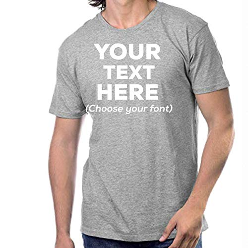 Custom T Shirts Design Your Own Customized Shirts | Personalized T Shirts Men or Women Unisex Soft Cotton (Heather Grey, Small)