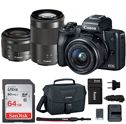 Canon EOS M50 15-45mm and 55-200mm Mirrorless Digital Camera (Black) with Spare Battery and Charger + 64GB Memory Card + Canon Camera Bag by Canon