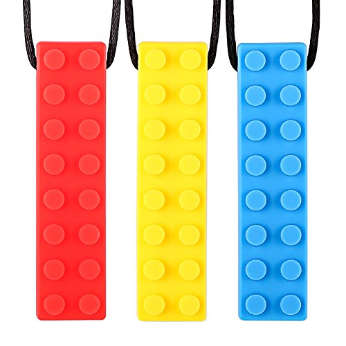 Chew Necklace For Boys and Girls (3-Pack) - Chewy Sensory Chewing Necklace for Autism ADHD Oral Motor Biting Teething - Chewelry Chew Brick by Solace by Solace