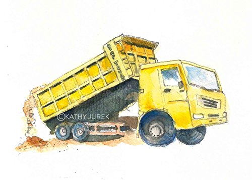 Yellow Dump Truck Print #3 / Dump Truck Nursery Decor / Truck Wall Art / Boys Room Truck Print
