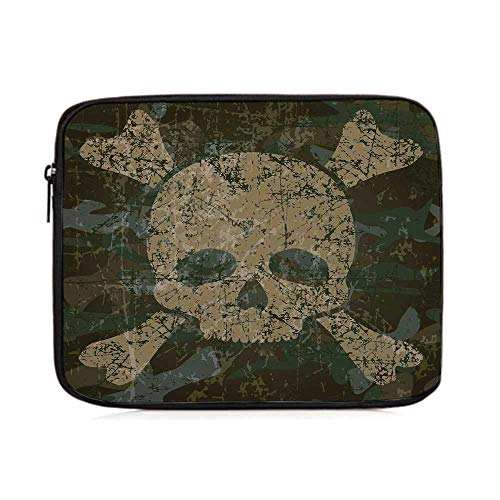 - Camo,Military Texture with Skull and Crossbones Aged Rusty Soldier Grunge Style,One Size