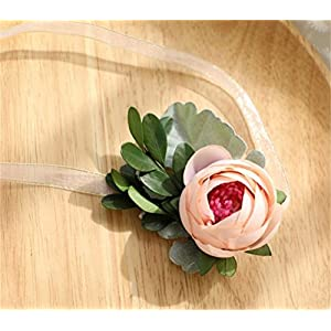 MOJUN Camellia Wrist Flower Artificial Camellia Flower Wedding Corsage Wristband 94