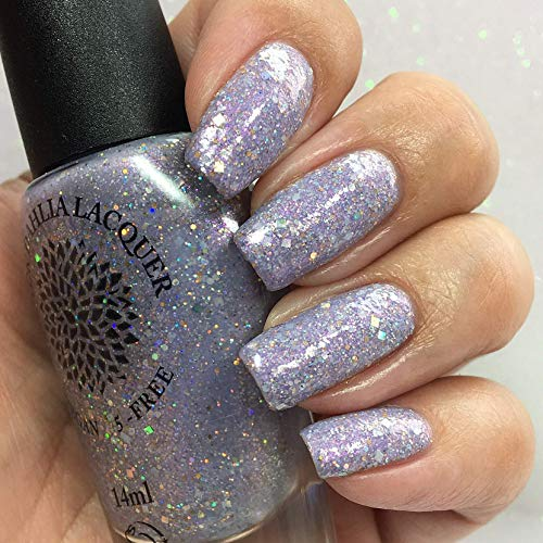 Amethyst Rosette | Light Purple Shimmer Crelly Nail Polish with Silver, Lime & Gold Holo Glitter | by Black Dahlia Lacquer