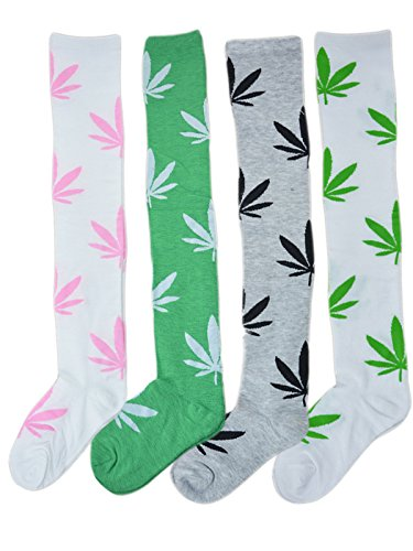 TooPhoto Womens Weed Print Hip Hop Maple Marijuana Leaf Over Knee High Socks Color (Cute Referee Costumes For Women)