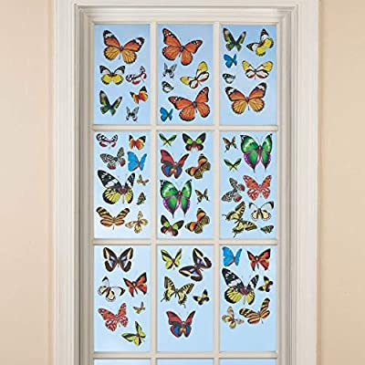 Butterfly Window Stickers, Window Decals, Removable, Classroom Decorations, Earth Science Spring Decorations - Set of 60 Decals