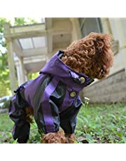 Lovelonglong Dog Hooded Raincoat, Small Dog Rain Jacket Poncho Waterproof Clothes with Hood Breathable 4 Feet Four Legs Rain Coats for Small Pet Dogs Purple M