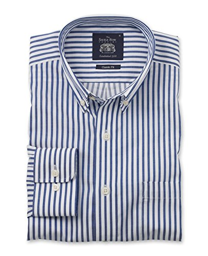 The Savile Row Company Savile Row Mens Navy Twill Bengal Stripe Casual Classic Barrel Cuff Shirt Large Twill Stripe Dress Shirt