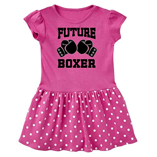 (inktastic Boxing Future Boxer Infant Dress 18 Months Raspberry with Polka Dots)