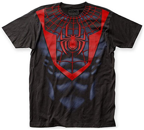 Spider-Man- Miles Morales Costume Tee T-Shirt Size XL (Mens Black Spiderman Costume)