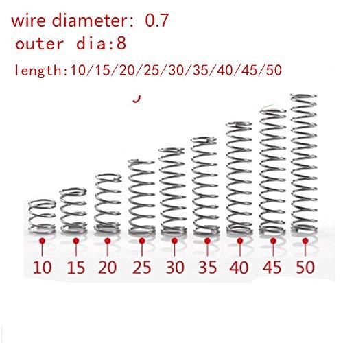 20pcs 0.7mm 0.7 x 8 mm Edelstahl-Druckfeder Drahtdurchmesser 0,7 mm Au/ßendurchmesser 8mm L/änge 10-50mm Gr/ö/ße : 10mm NO LOGO F-Jiujin