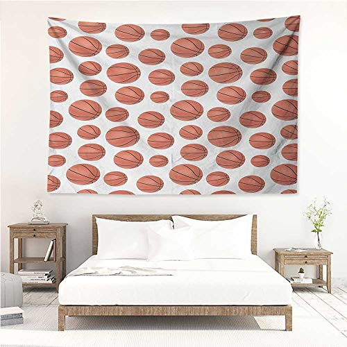 Basketball,Dorm Tapestry Realistic Style Balls Pattern on White Classical Sports Themed 72W x 54L Inch Towel Throw Tapestry Decor Pale Cinnamon Black White