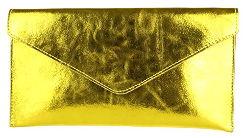 Girly HandBags Womens Violetta Clutch Bright Gold