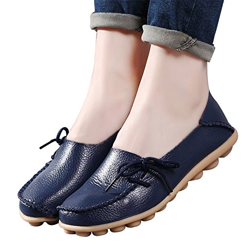 Women's Leather Loafers Shoes Wild Driving Casual Flats Dark Blue 9 (Leather Womens Loafers)