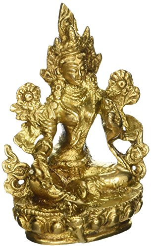 Tara Brass Statue - Goddess Green Tara - Brass Statue