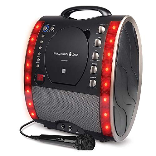 (The Singing Machine SML343 Portable CDG + Karaoke System with LED Disco Lights and Microphone - Black)