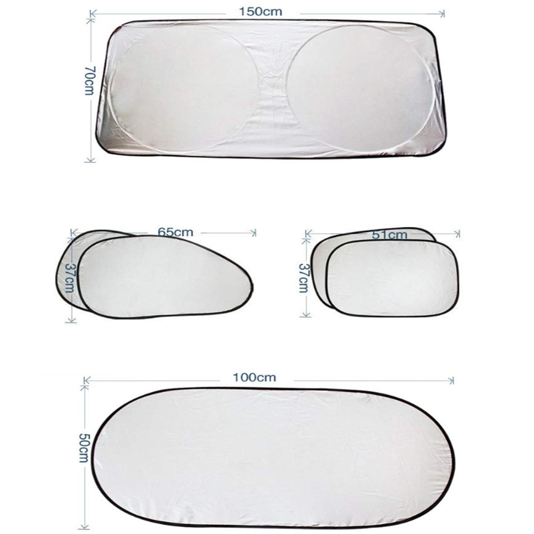 BOEHNER Car Sun Shade Windscreen SunShade Car Front Windshield Shades Sun Reflector Block UV Ray Keep Your Vehicle Cooler Flexible Size for SUV Van Truck Front Window Blind Large Silver 150 * 70