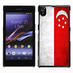 Shell-Star ( National Flag Series-Singapore ) Snap On Hard Protective Case For SONY Xperia Z1 / L39H / C6902 / C6903 / C6906