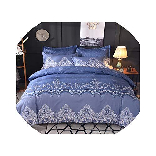- tthappy76 Luxury Lace Solid Color Bedding Set 3Pcs Duvet Cover Set Pillowcases Bed Sheet Bedclothes Comforter Bedding Sets Bed Linen,Blue,200X230Cm