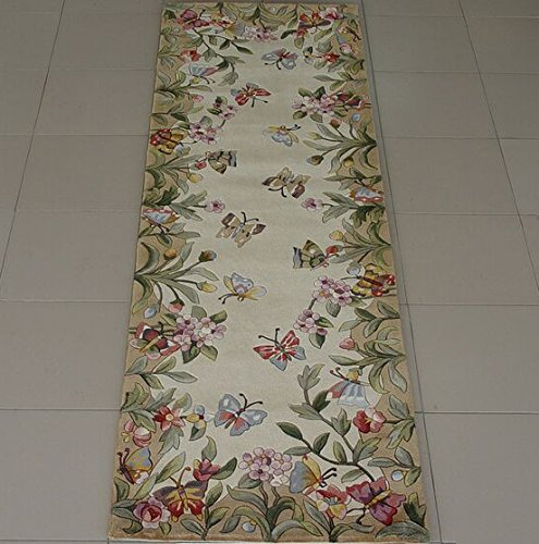 KAS Oriental Rugs Emerald Collection Butterfly Garden Runner, 2'6