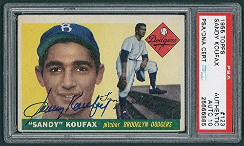 Sandy Koufax Signed 1955 Topps Rookie Card #123 RC graded mint 10 autograph - PSA/DNA Certified - Baseball Slabbed Autographed Cards