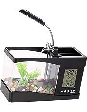Unicoco USB Desktop Aquarium Black with Water Tap Calendar Clock Table Electronic Aquarium Mini USB LCD Fish Tank