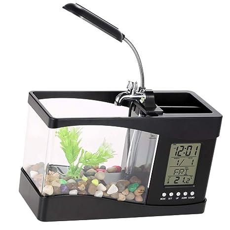YaptheS USB de Escritorio Acuario Negro con Agua del Grifo Calendario Reloj Mesa Electrónica Acuario Mini