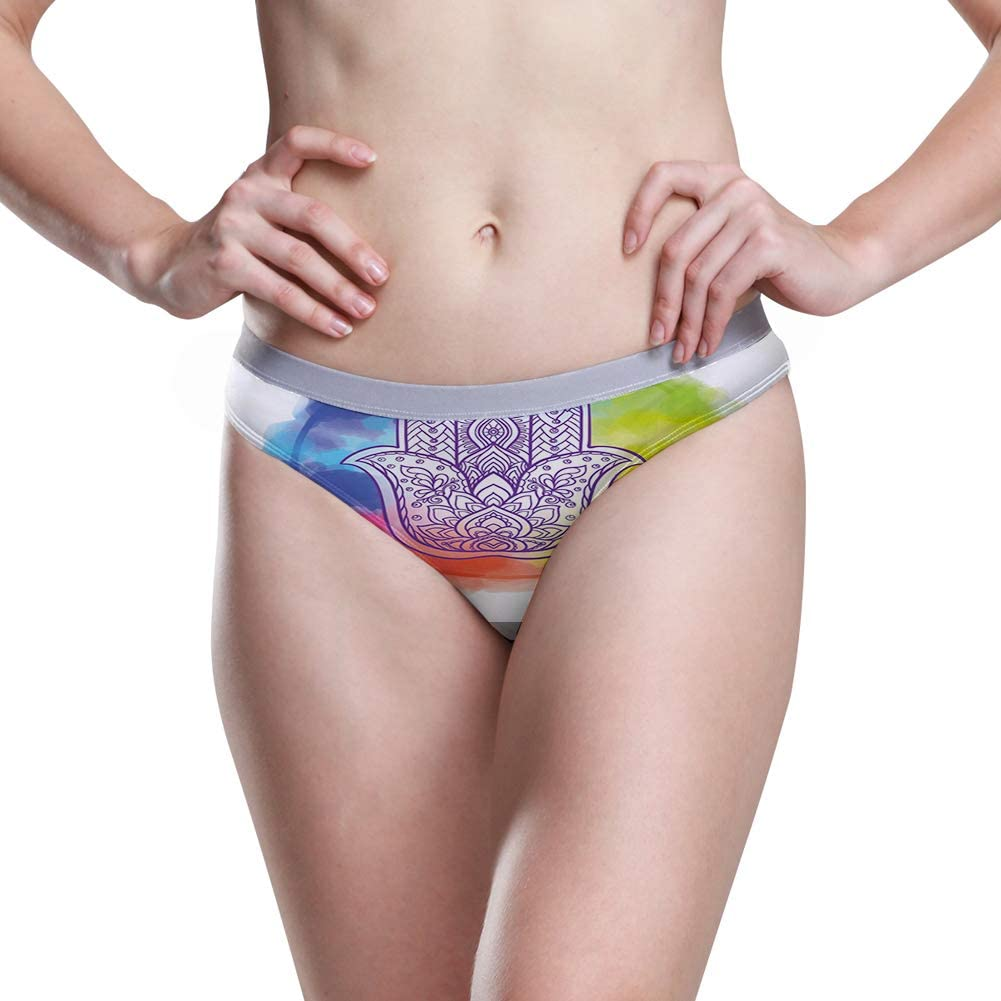 Womens Hipster Panties,Circle Paint Smear Spotty Pattern with Weathered Look Brushstroke Dots,5 Size