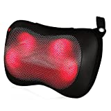 Shiatsu Massage Pillow Massager with Heat, 4 Deep Kneading Nodes to Relieve Shoulder, Neck, Back,Waist, Arms, Foot Pain, Feagar Portable Body Electric Massage for Home Car Office, Black