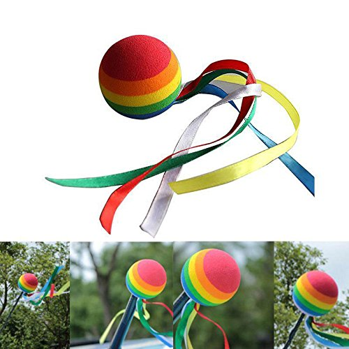 APCS Rainbow Long Tail Ball Car Truck SUV Antenna Aerial Pen Topper Decoration (Car Antenna Topper Pencil)