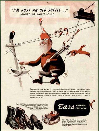 Oglethorpe The Softie Hunter in 1950 Bass Footwear AD Original Paper Ephemera Authentic Vintage Print Magazine Ad/Article (Bass Footwear)