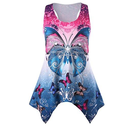 Sexyville Dbardeurs Femme lgant Irrgulier Hem Tank Sans Manches Papillon Impression Tops Camisole Bleu
