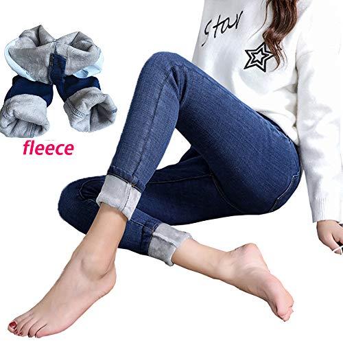 - Yehopere Women Winter Jeans Skinny Jeans Fleece Lined Zip Slim Fit High Waist Jeggings