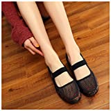vermers Women Net Shoes - Flat Heel Breathable Hole Mesh Casual National Style Shoes(US:5.5, Black)