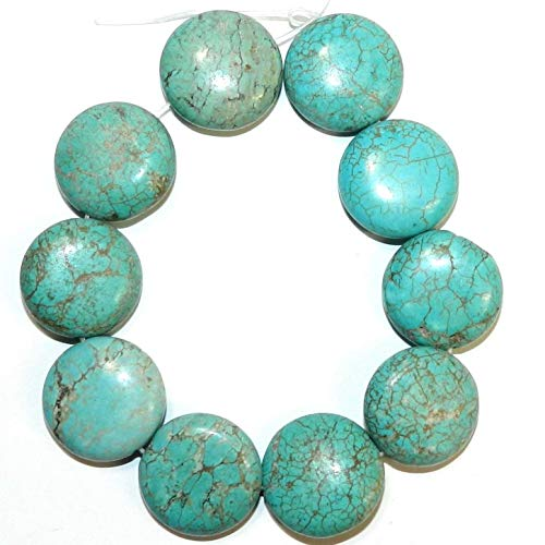 Blue-Green Turquoise 20mm Puffed Flat Round Magnesite Gemstone Beads 8#ID-1793 ()