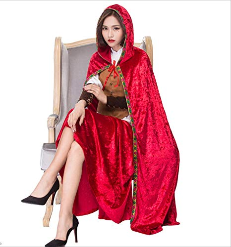 KTYX Vestido De Caperucita Roja Juego Divertido Juego De Disfraces De Halloween Chal con Capucha Vestidos de Halloween...