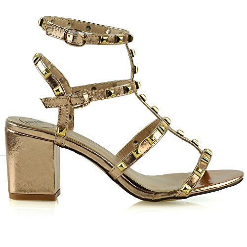 ESSEX GLAM Womens Ladies Ankle Strap Studded Sandals Ladies Rivet Block Heel Shoes Size 3-8 Gold FCEQi