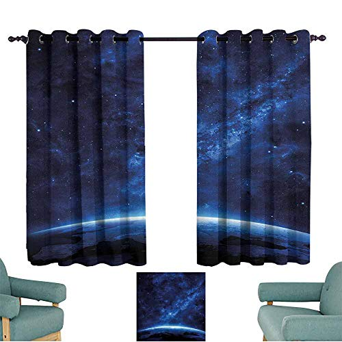 (Agoza Kids Curtains World Earth View Cosmic Night for Bedroom Grommet Drapes W72x63L)