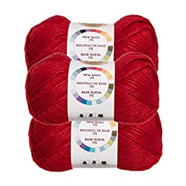 Lion Brand (3 Pack) New Basic Acrylic & Wool Soft Tomato Red Yarn for Knitting Crocheting Medium #4