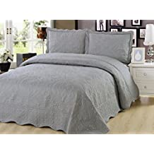Beauty Sleep Bedding Embroidered 3 Pieces Luxury Reversible Quilt Set with 2 Quilted Shams, Gray Color, King Size