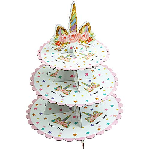 JETTINGBUY 3 Tier Unicorn Cardboard Cupcake Stand Dessert Cupcake Holder for Baby Shower, Gender Reveal Party, Kids Birthday Party or Unicorn Themed Party]()