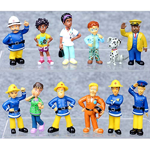 12 Pcs Fireman Sam Figures Toys Firehouse Doll Cake Toppers for Kids - Fireman Party Supplies Figurines
