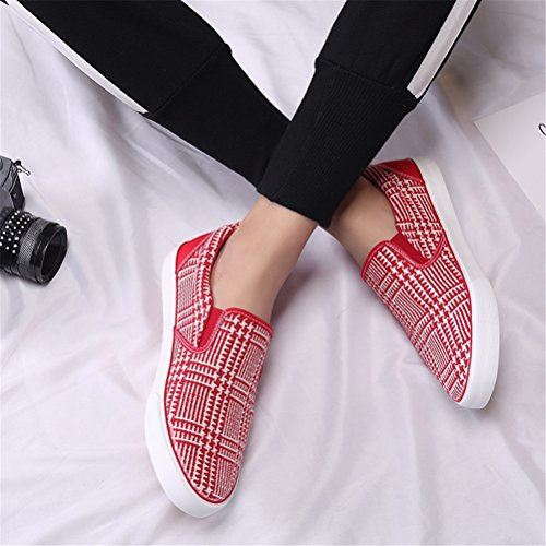 Casual Red Red 44 Shoes Running Spring HUAN Color Fashion Deck Size Men's Shoes Black Shoes Flat Loafers Canvas Sneakers wSaYanqU