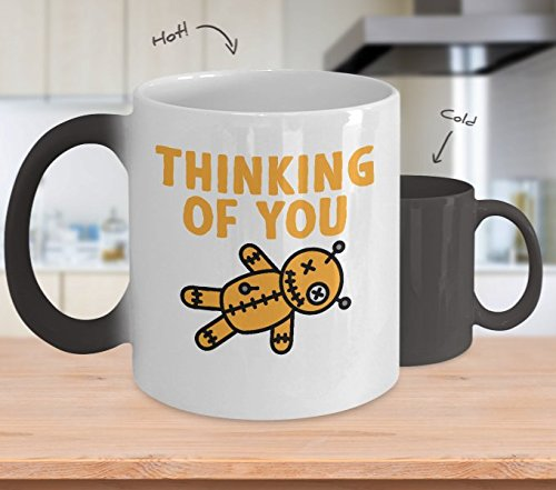 Funny Witchcraft Mug - Thinking Of You Voodoo Doll - Halloween Home Office Color Changing Coffee Cup Gift (11 (Year 11 Last Day Costume Ideas)