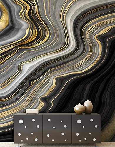 Gold Tile Slate Flooring - Stickerbrand Black and Gold Abstract Marble Stone Slate Textured Flooring Pattern Wall Mural. #6146. 108in W X 48in H.