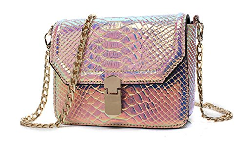 Pink Snake Handbag - Marchome Women Girls Hologram Snake Skin Pu Leather Crossbody Shoulder Bag (Large, Pink)