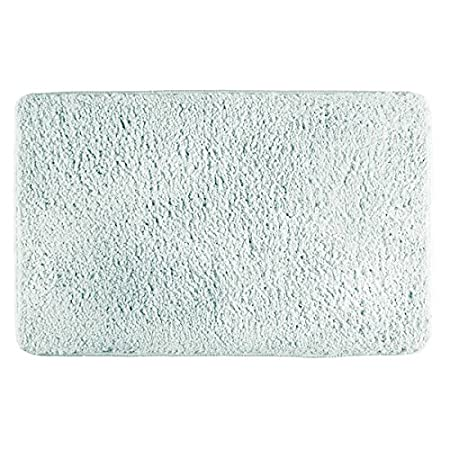 mDesign Soft Microfiber Polyester Non-Slip Rectangular Fuzzy Mat, Extra-Plush Water Absorbent Accent Rug Bathroom Vanity, Bathtub/Shower, Machine Washable - 34 x 21 - Light Aqua Blue MetroDecor 4597MDBA