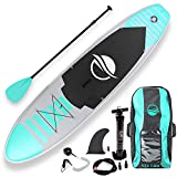 SereneLife Inflatable Stand Up Paddle Board (6 Inches Thick) Universal SUP Wide Stance w/Bottom Fin Paddling Surf Control | Non-Slip Deck | Youth Adult